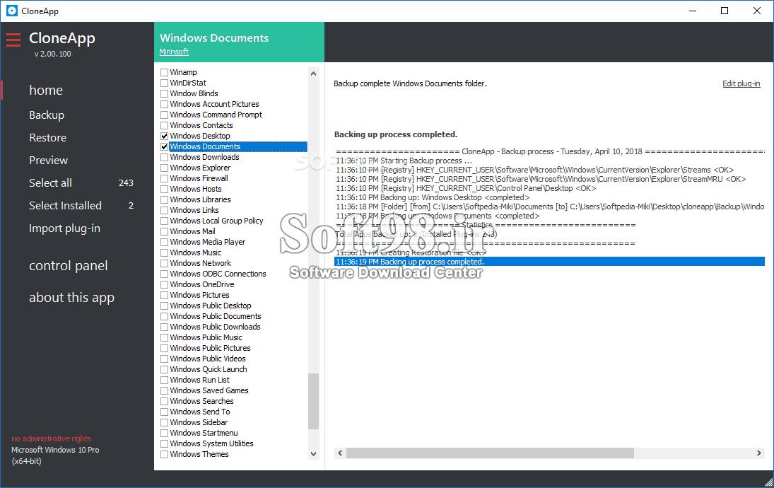 CloneApp 2.10.421 Backup Of Software Settings